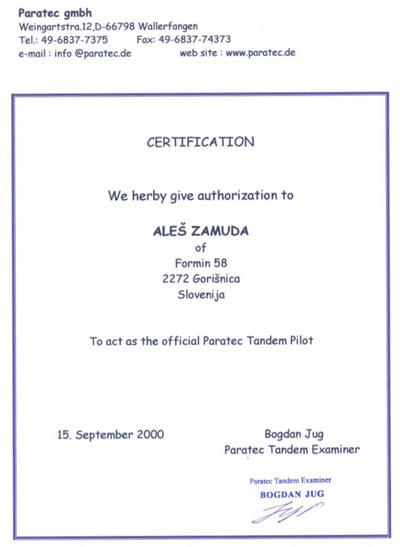 Skok v tandemu certifikat
