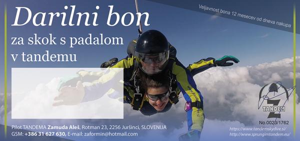 Darilni bon za skok s padalom v tandemu 6000m Bovec